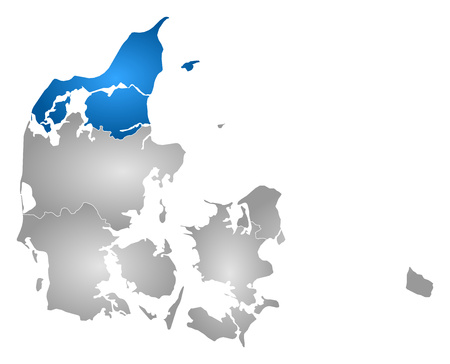 Map of Danmark with the provinces, filled with a radial gradient, North Denmark is highlighted.