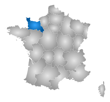 normandy: Map of France with the provinces, filled with a radial gradient, Lower Normandy is highlighted.