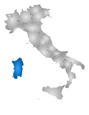 sardinia: Map of Italy with the provinces, filled with a radial gradient, Sardinia is highlighted.