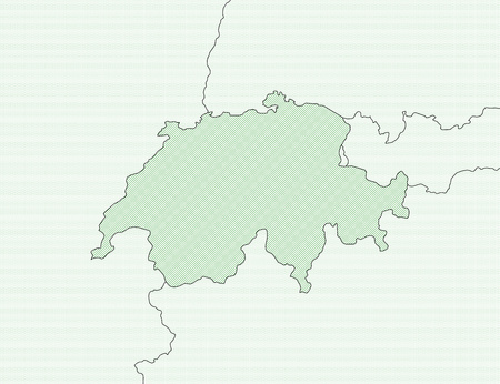 swizerland: Map of Swizerland and nearby countries, Swizerland is shaded wirh green lines.