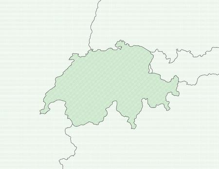 schweiz: Map of Swizerland and nearby countries, Swizerland is shaded wirh green lines.