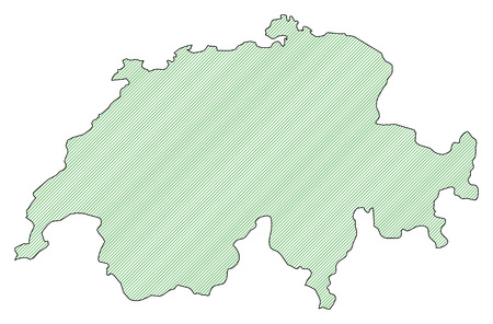 swizerland: Map of Swizerland, shaded wirh green lines.