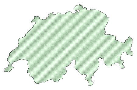 schweiz: Map of Swizerland, shaded wirh green lines.