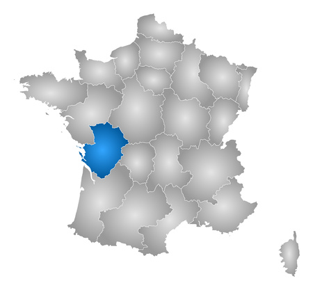 Map of France with the provinces, filled with a radial gradient, Poitou-Charentes is highlighted. Illustration
