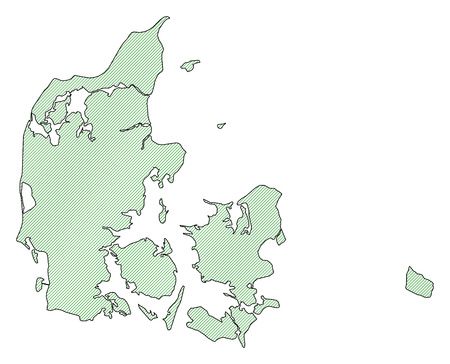 frontiers: Map of Danmark, shaded wirh green lines. Illustration