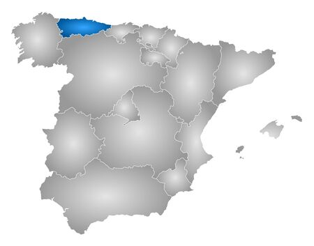 Map of Spain with the provinces, filled with a radial gradient, Asturias is highlighted. Illustration