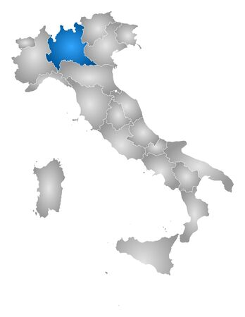 lombardy: Map of Italy with the provinces, filled with a radial gradient, Lombardy is highlighted.