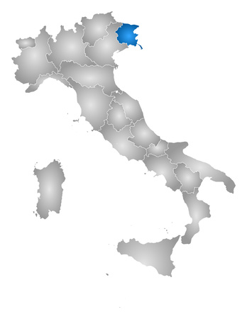tone shading: Map of Italy with the provinces, filled with a radial gradient, Friuli-Venezia Giulia is highlighted. Illustration