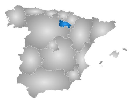 tone shading: Map of Spain with the provinces, filled with a radial gradient, La Rioja is highlighted. Illustration