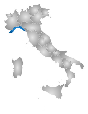 tone shading: Map of Italy with the provinces, filled with a radial gradient, Liguria is highlighted.