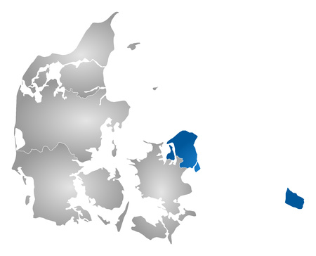 danmark: Map of Danmark with the provinces, filled with a radial gradient, Capital Region is highlighted.