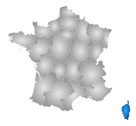 corsica: Map of France with the provinces, filled with a radial gradient, Corsica is highlighted.