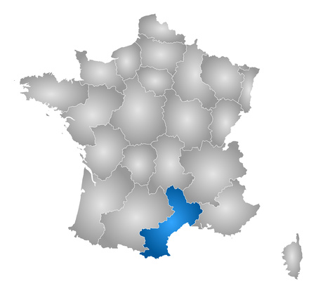 tone shading: Map of France with the provinces, filled with a radial gradient, Languedoc-Roussillon is highlighted.