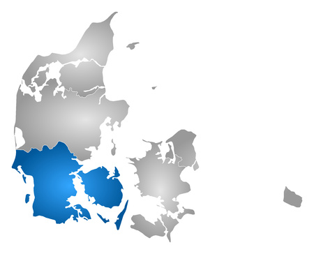danmark: Map of Danmark with the provinces, filled with a radial gradient, South Denmark is highlighted.