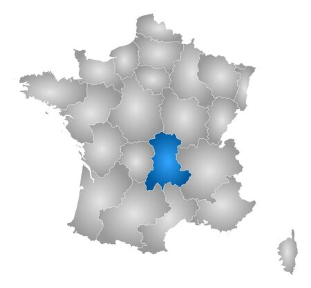 tone shading: Map of France with the provinces, filled with a radial gradient, Auvergne is highlighted. Illustration