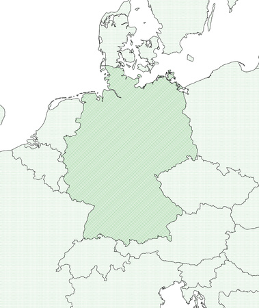 federal republic of germany: Map of Germany and nearby countries, Germany is shaded wirh green lines.