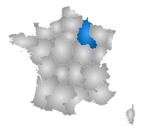 Map of France with the provinces, filled with a radial gradient, Champagne-Ardenne is highlighted.