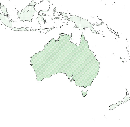 australie: Map of Australia and nearby countries, Australia is shaded wirh green lines.