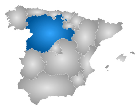 len: Map of Spain with the provinces, filled with a radial gradient, Castile and Le?n is highlighted.