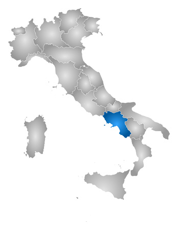 regions: Map of Italy with the provinces, filled with a radial gradient, Campania is highlighted.
