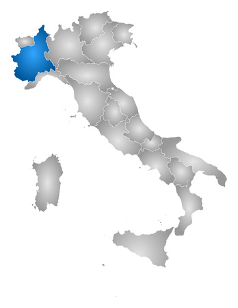 Map of Italy with the provinces, filled with a radial gradient, Piemont is highlighted. Ilustracja