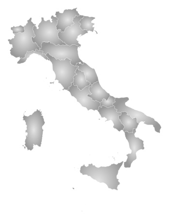 tone shading: Map of Italy with the provinces, filled with a radial gradient.