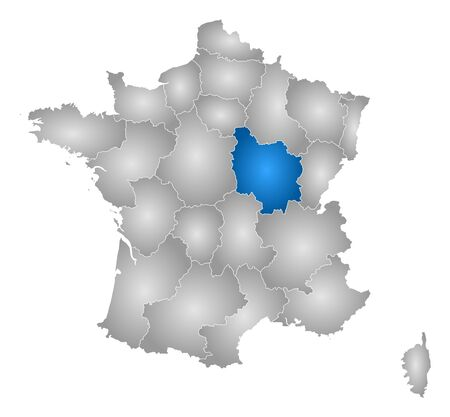 tone shading: Map of France with the provinces, filled with a radial gradient, Burgundy is highlighted.