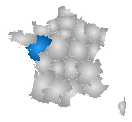 pays: Map of France with the provinces, filled with a radial gradient, Pays de la Loire is highlighted.