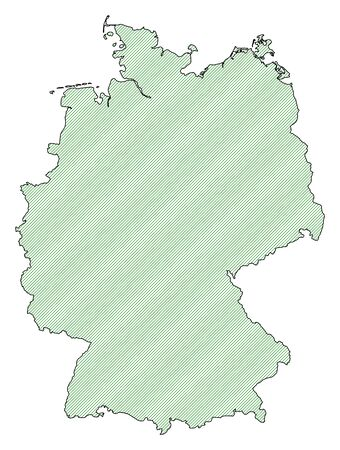federal republic of germany: Map of Germany, shaded wirh green lines.