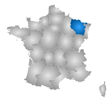 tone shading: Map of France with the provinces, filled with a radial gradient, Lorraine is highlighted.