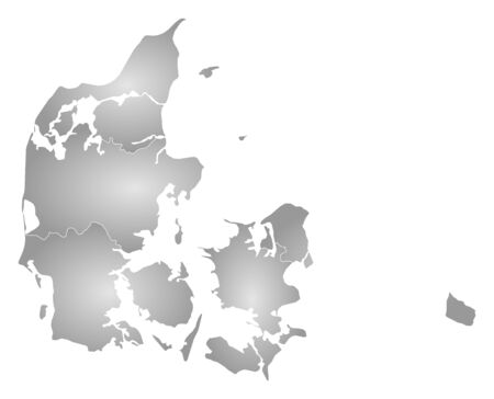 frontiers: Map of Danmark with the provinces, filled with a radial gradient.