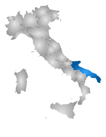Map of Italy with the provinces, filled with a radial gradient, Apulia is highlighted.