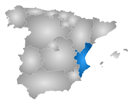 Map of Spain with the provinces, filled with a radial gradient, Valencian Community is highlighted.