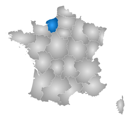 normandy: Map of France with the provinces, filled with a radial gradient, Upper Normandy is highlighted. Illustration