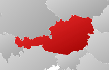 tone shading: Map of Austria with the provinces and nearby countries, filled with a linear gradient.