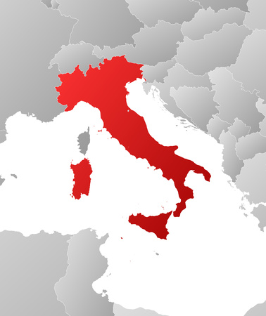 regions: Map of Italy with the provinces and nearby countries, filled with a linear gradient.
