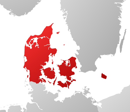 danmark: Map of Danmark with the provinces and nearby countries, filled with a linear gradient. Illustration