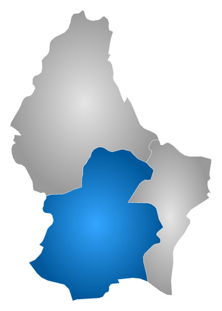 belgie: Map of Luxembourg with the provinces, filled with a radial gradient, Luxembourg is highlighted. Illustration
