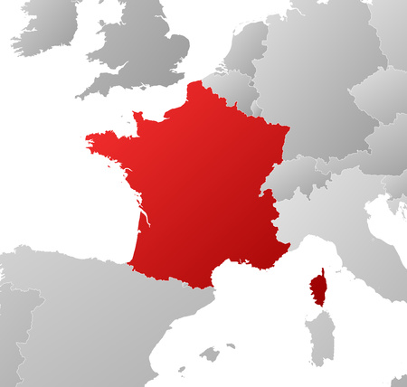 tone shading: Map of France with the provinces and nearby countries, filled with a linear gradient.