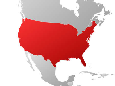 tone shading: Map of United States with the provinces and nearby countries, filled with a linear gradient.