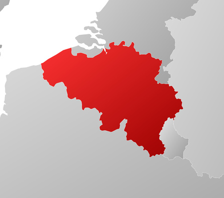 tone shading: Map of Belgium with the provinces and nearby countries, filled with a linear gradient.