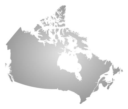 tone shading: Map of Canada, filled with a radial gradient.