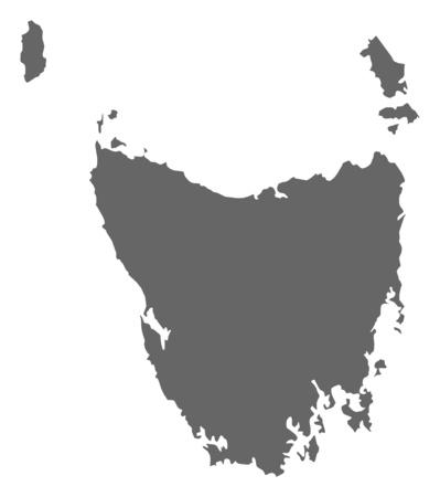 tasmania: Map of Tasmania, a province of Australia. Illustration