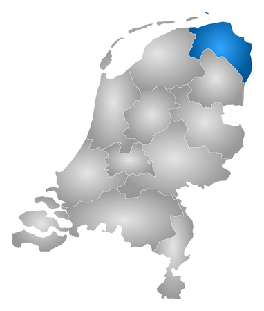 tone shading: Map of Netherlands with the provinces, filled with a radial gradient, Groningen is highlighted.