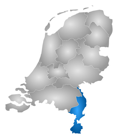 tone shading: Map of Netherlands with the provinces, filled with a radial gradient, Limburg is highlighted. Illustration