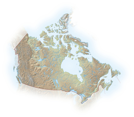 implied: Relief map of Canada, the nearby countries are implied.