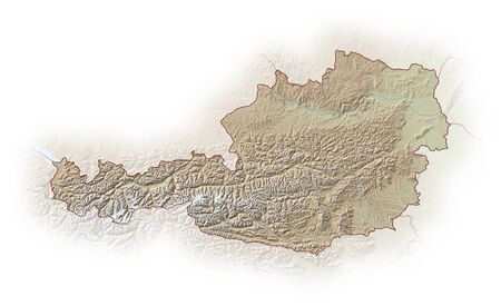 general maps: Relief map of Austria, the nearby countries are implied.