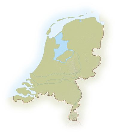 implied: Relief map of Netherlands, the nearby countries are implied.