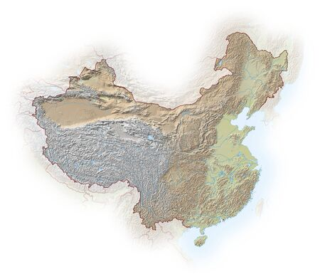 implied: Relief map of China, the nearby countries are implied.