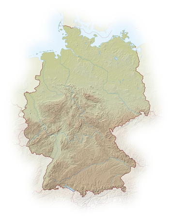 implied: Relief map of Germany, the nearby countries are implied.